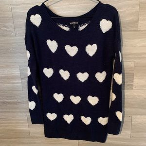 Express sweater hearts wool blend crew neck Xs